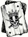 B&W Ace Playing cards Design With Old School Crowned King Skull Motif Vinyl Car Sticker 100x75mm